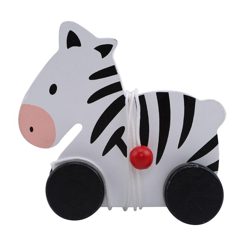 Animal Zebra Giraffe Puppy Shape Trailer Wooden Cute Cartoon Animal Shape Pull Toy Early Education Puzzle Toys
