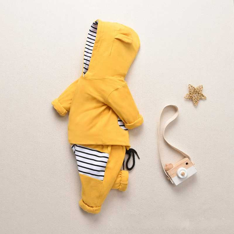 Hot Koop Baby Jongens Meisjes Winter Hoodie Trui Kinderen Lange Mouw Warme Hooded Oren Sweatshirt Streep Broek Outfits Kleding 6M-5Y