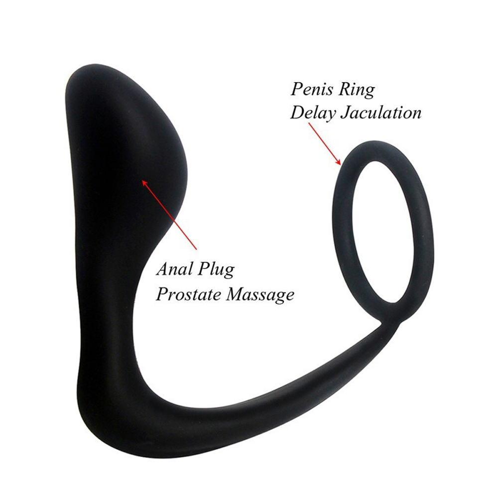 Soft Silicone Anal Hook Tail Butt Plug - Comfortable Dual Use Prostate Massage and Cock Ring, Penis Delay Ejaculation Ring & Anus Prostate Stimulation, Adult Sex Toys for Men