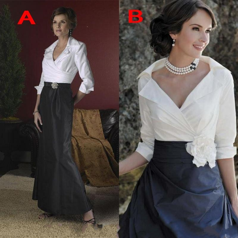 Black And White Classic Mother Of The Bride Dresses Long Sleeves Taffeta Mermaid Mother Groom Formal Dress Evening Gowns Custom