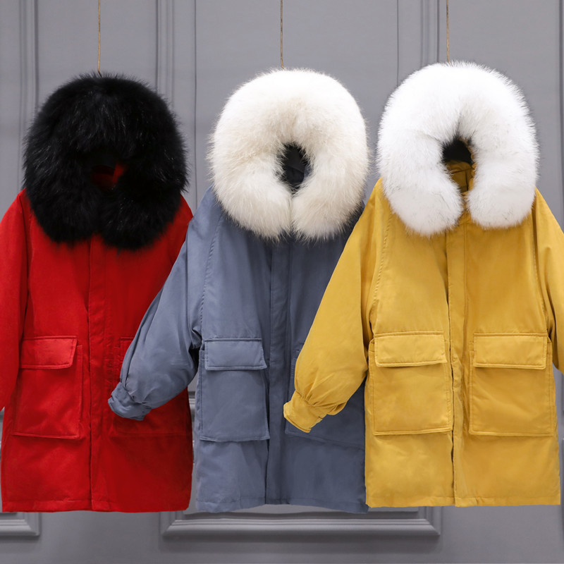 Winter White Duck Down Jacket Woman Hooded Long Thick Warm Down Parka Real Fur Loose Outwear Down Coat Female LWL1182