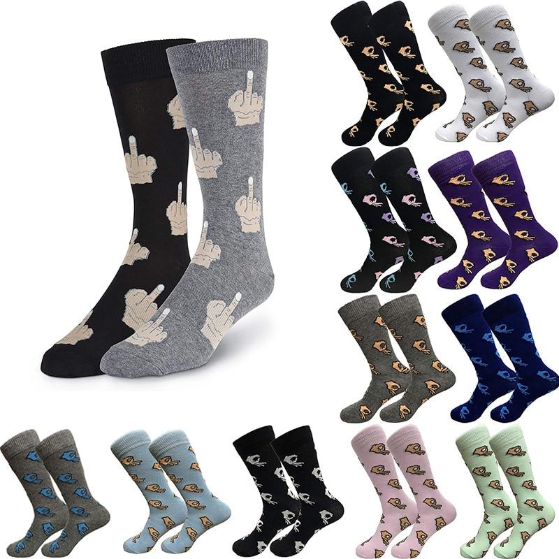 Men Unisex Winter Knitted Mid-Calf Long Crew Socks Funny OK Gesture Printed Hip-Hop Trendy Cotton Hosiery Skateboard Streetwear