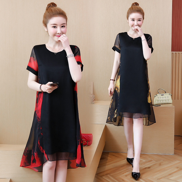 L 5XL Office Lady Party Loose o neck short Sleeve Plus Size Summer Yellow Red Black Elegant Woman Cocktail Dresses
