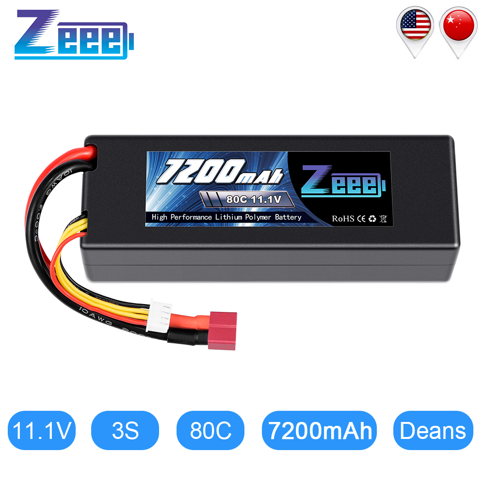 Zeee 11,1 V 7200mAh 80C Lipo Batterie 3S Hardcase Batterie mit Deans Stecker für RC Auto Lkw Boot RC Truggy FPV Flugzeug Buggy