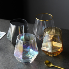 Геометрическая стеклянная чашка для виски с бриллиантами, Хрустальная стеклянная чашка с золотым ободком, прозрачная кружка для кофе, молока, чая, домашнего бара, посуда для напитков, подарки для пар