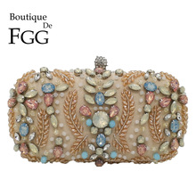 Boutique De FGG Vintage Beaded Purse for Women Clutches Evening Bags Party Cocktail Rhinestone Clutch Bag Bridal Wedding Bag