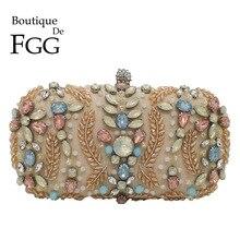 Boutique De FGG Vintage zroszony torebka dla kobiet sprzęgła torby wieczorowe Party koktajl Rhinestone kopertówka torba na ślub dla nowożeńców
