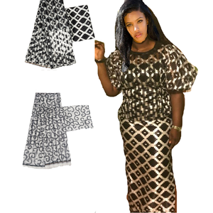Image 1 - Hot sale Ghana Style satin silk fabric  with organza ribbon African wax design ! J52602