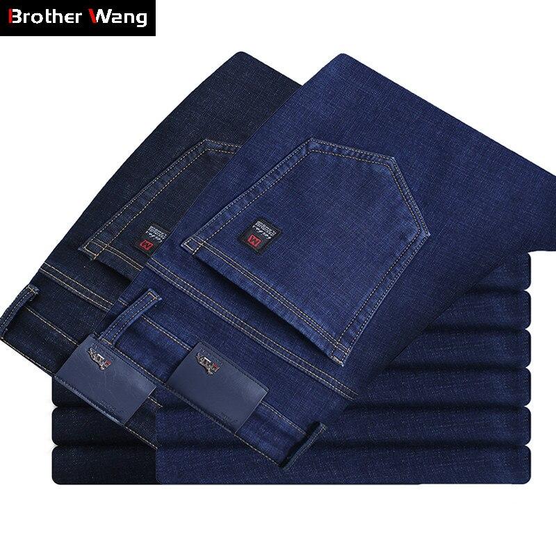 Classic Men's Slim Fit Jeans 2019 New Business Fashion Denim Jean Trousers Blue Brand Pants Male