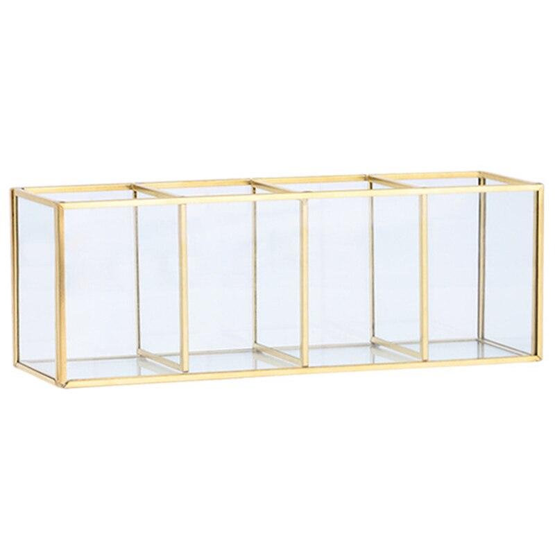 Botique-Nordic Gold Grid Glass Flip Storage Tank Box Luxury Modern Cosmetics Storage Box Container Micro-Landscape Flower Room