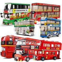 London Red City dwupiętrowy dworzec autobusowy modele zestawy klocki do budowy zestawy cegły zabawki dla dzieci Creator School Travel Vehicle technique
