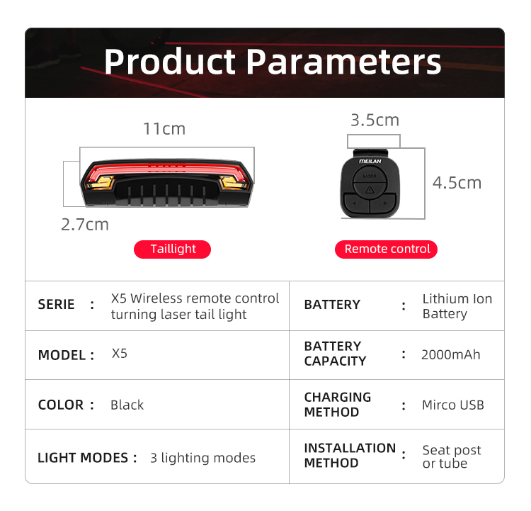 Wireless Bike light Brake Bicycle Rear Light laser taillight Smart USB Rechargeable Cycling Accessories Remote Turn led (4)