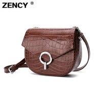 ZENCY 100% Genuine Cow Leather Crocodile pattern Classic Small Bags Women Messenger Cross Body Shoulder Bag Top Cowhide Purse
