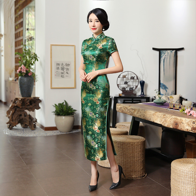 Print Flower Green Lady Slim Tight Qipao Long Novelty Cheongsam Plus Size 3XL Short Sleeve Vestidos Traditional Chinese Dress