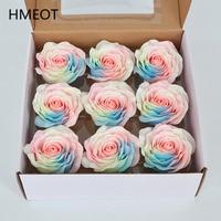 Ramo de flores de jabón de rosa de arcoíris, 8cm grandes, flores artificiales de colores, flor eterna, caja de regalo creativa, materiales hechos a mano