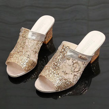 Spring 2019 new Korean fish mouth thick heel student slippers women's mesh sequins antiskid high heel women's slippers