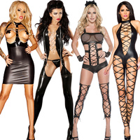 TaFiY Halloween Women Black Sexy Jumpsuit Hallow Out Faux Leather Club Wear Costumes Clothing Catsuit Cat Suits Sexy Costumes