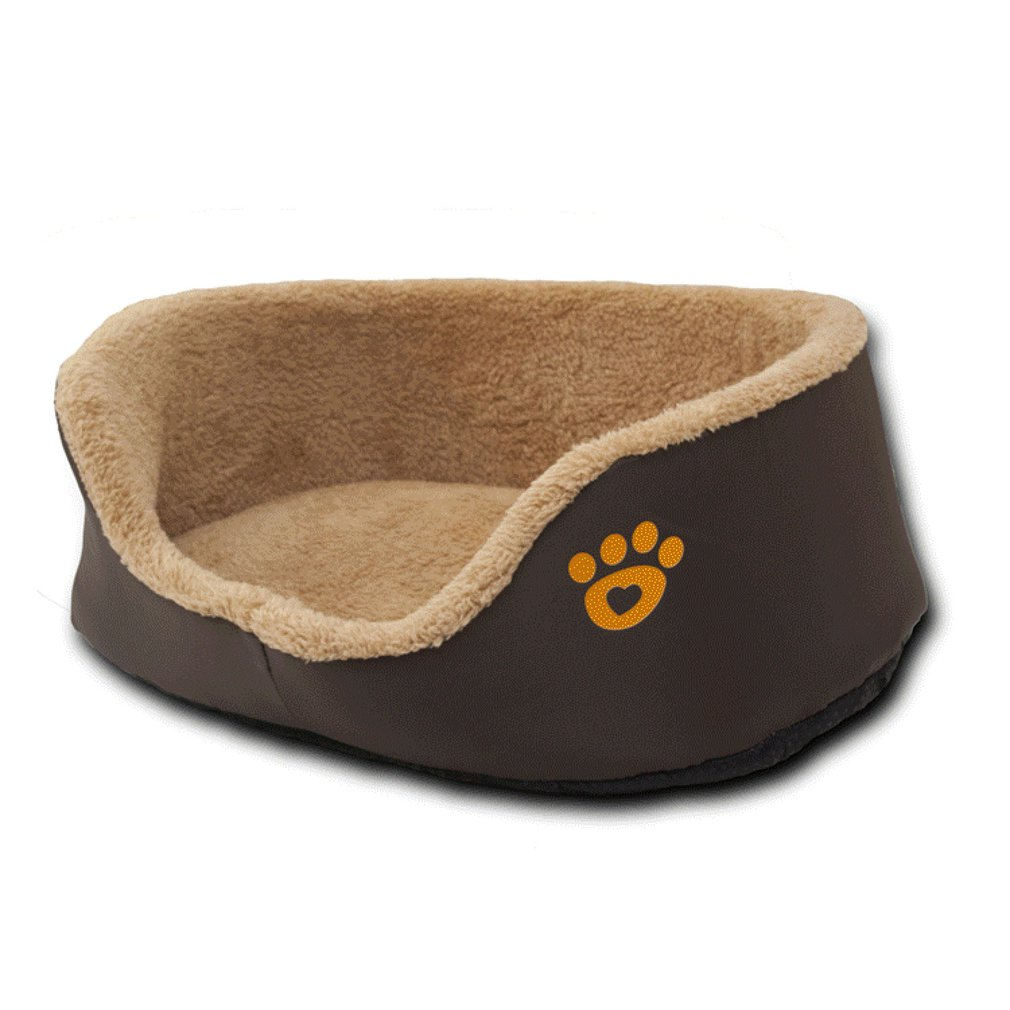 Cute Soft Natural Washable Round Shape Plush Pet Nest Cat Toilet Training Kit Bed Cat House Warm Plush Mats Brown
