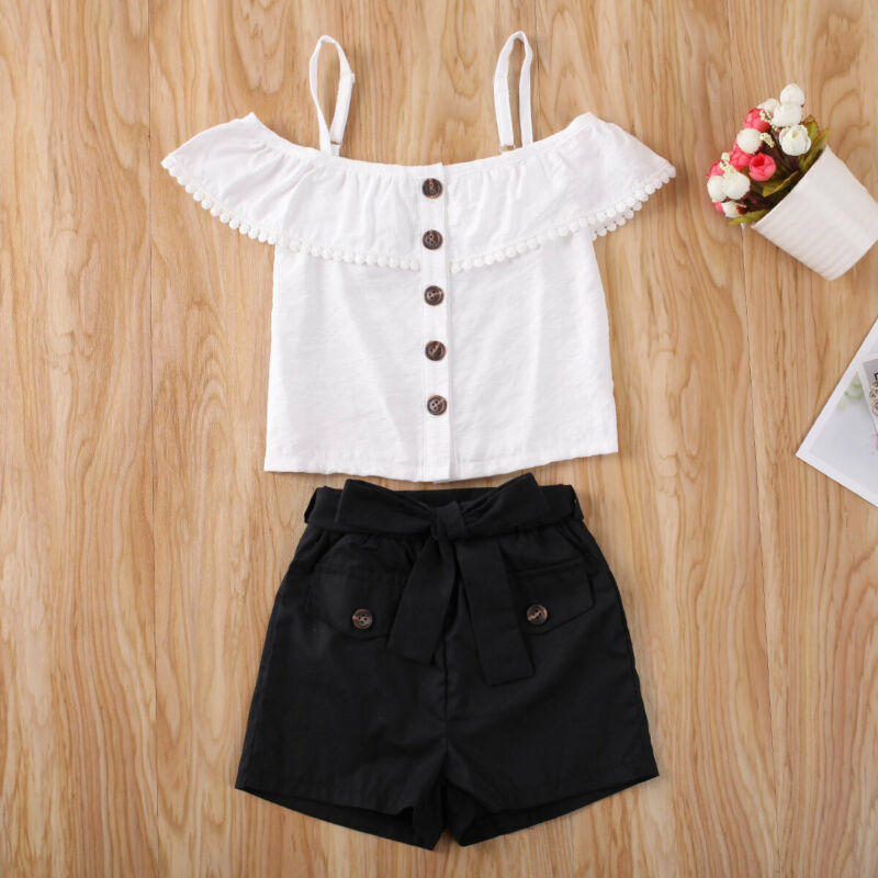CANIS Summer Toddler Kids Baby Girl Clothes Ruffled Solid Color Button Crop Top+Big Bowknot Shorts Outfits