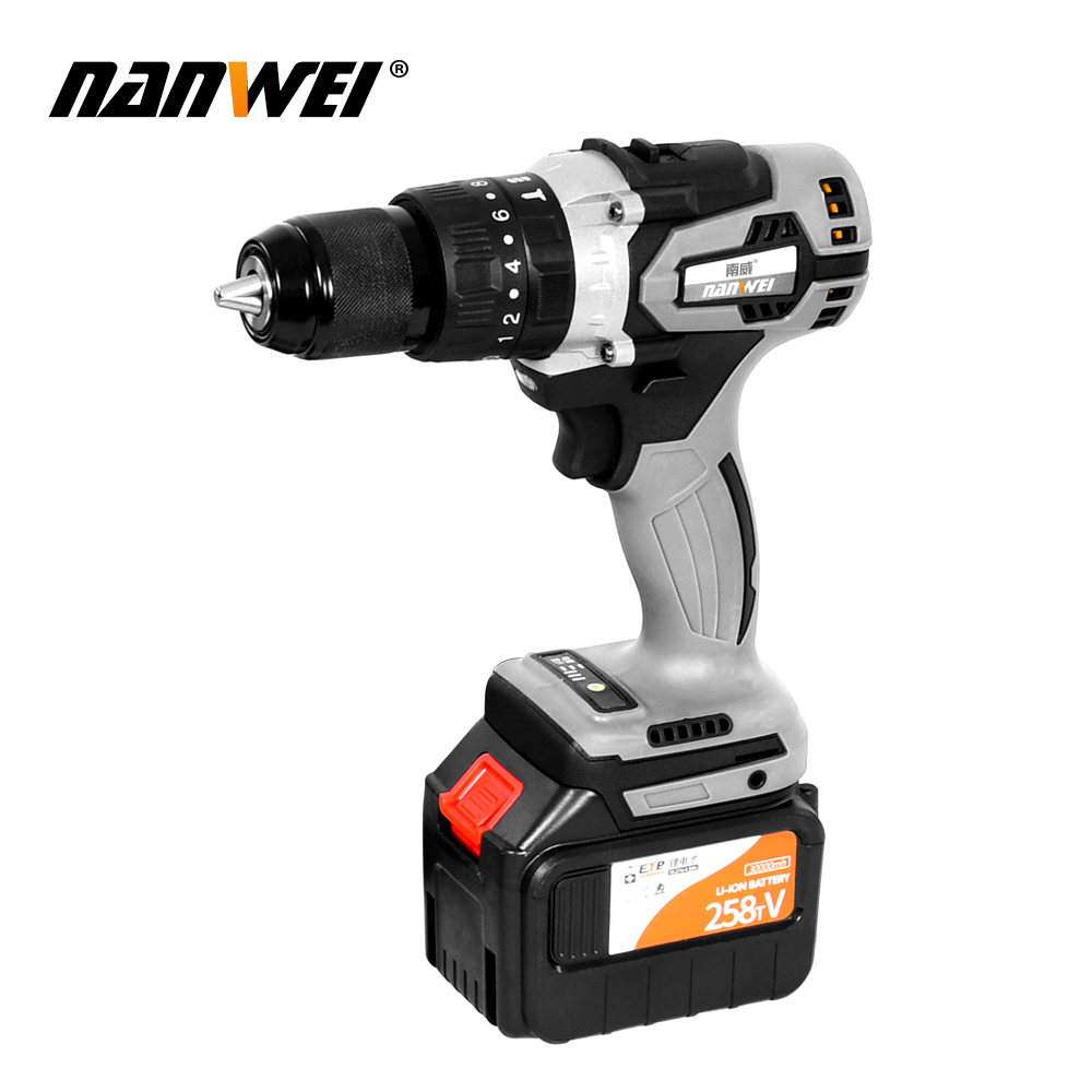 168 198 258tV Cordless Lithium 2 Battery Drills Screwdriver Rechargeable Electric Drill Tool for Scaffolder Carpenter Repairm