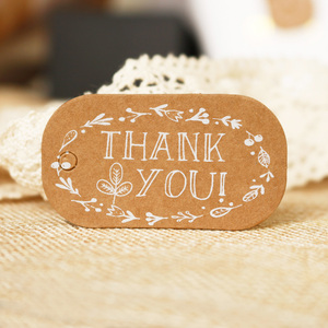 50pcs Brown Paper Gift Tag Label Thank You Garland Kraft Paper Tag Handmade Party Wedding Favors Cookies Decorative Tag