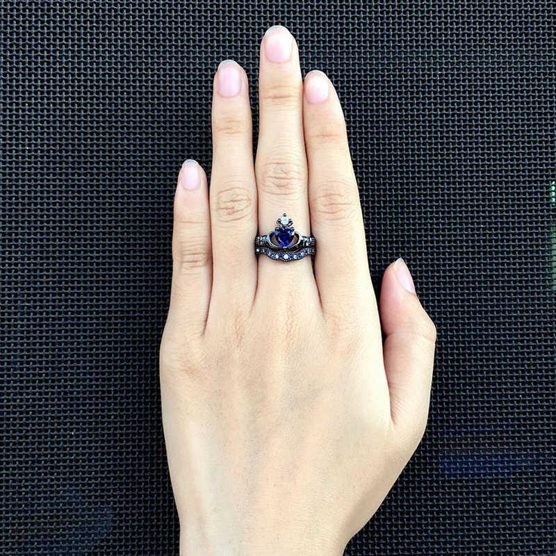 Mode Schwarz Ringe Männer Drachen Muster Edelstahl Ring Charme Weiß/Blau Strass Zirkon Frauen Ring Set Für Liebhaber geschenk