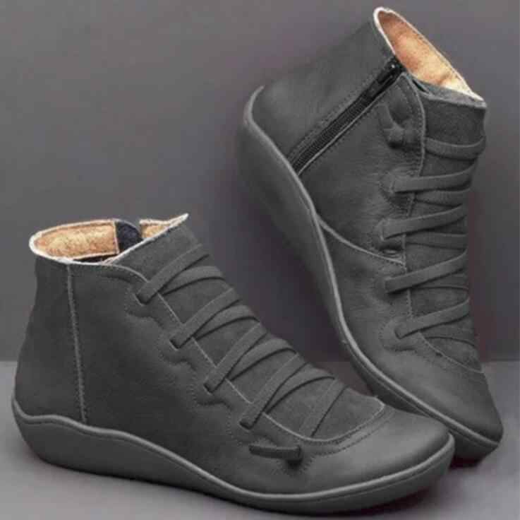 Suni deri kadın yarım çizmeler sonbahar kış düz çapraz Strappy Vintage bayanlar ayakkabı platformu seksi Punk Martin çizmeler Botas Mujer