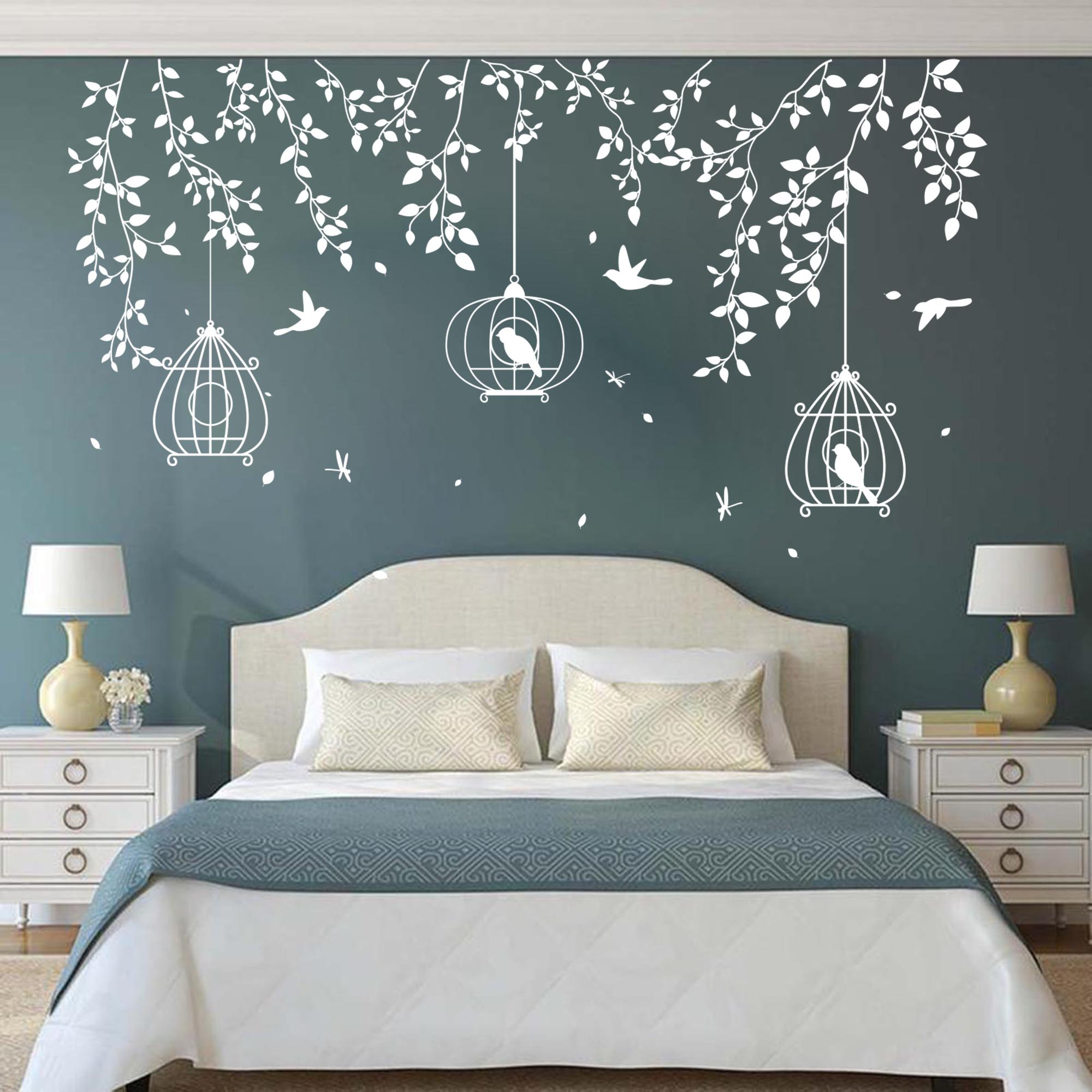Large Tree Birdcage Leaves Wall Sticker Bedroom Sofa Forest Nature Leaves Birds Animal Branch Wall Decal Living Room Vinyl Decor Wall Stickers Aliexpress