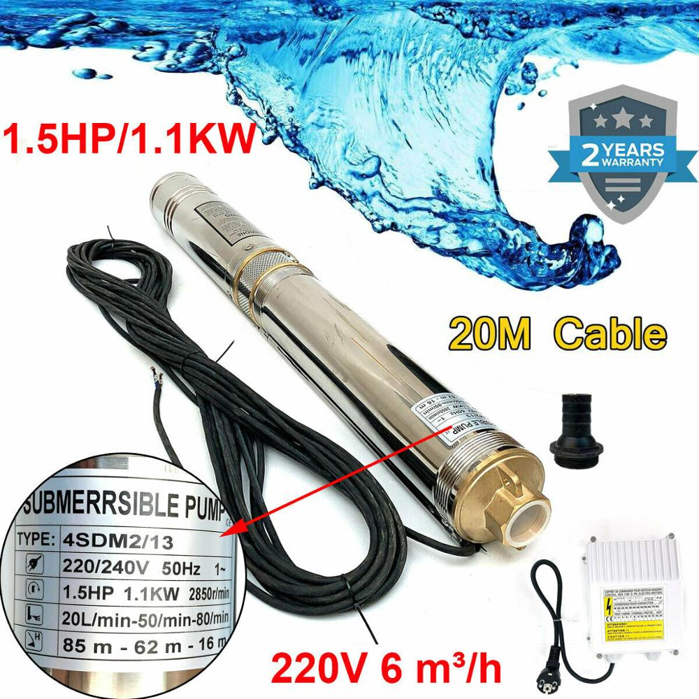 6000 L/H Deep Well Pump 4 Inch 1.1KW Fountain Pump Tube Pump Deep Well Pump Water For Home Use Submersible Pump Watering DE