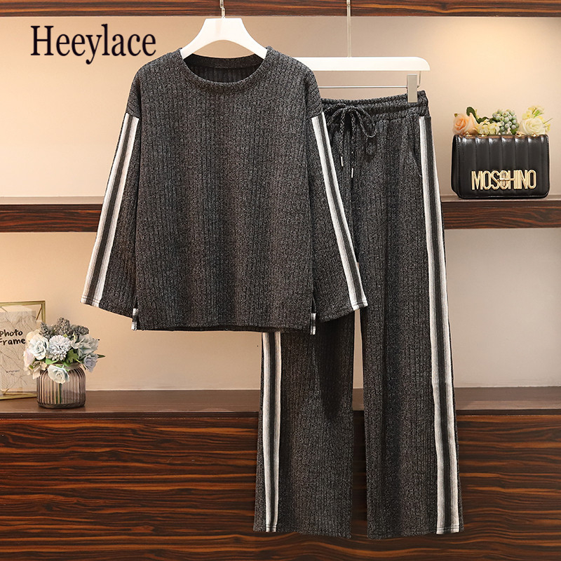 Large Lady Plus Size 5XL Women Sports Suit Wide Leg Pant Tracksuit Sweatshirt+pant Two Piece Set Top And Pant Sportwear Matching