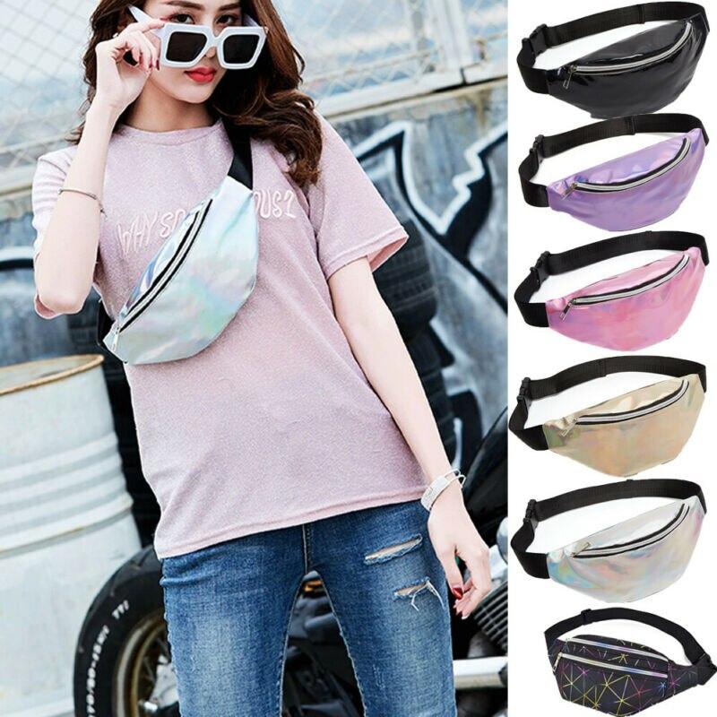 Women Travel Waist Fanny Pack Belt Bags Money Pocket Wallet Glitter Multicolor Bum Bag Pouch Purse Rinonera  /BL1