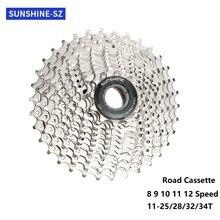 Sunshine Racefiets 8/9/10/11/12 Speed Cassette 11-25T/28T/32T/34T Fiets Vrijloop Fiets Tandwiel Road Vliegwiel Voor Shimano Sram