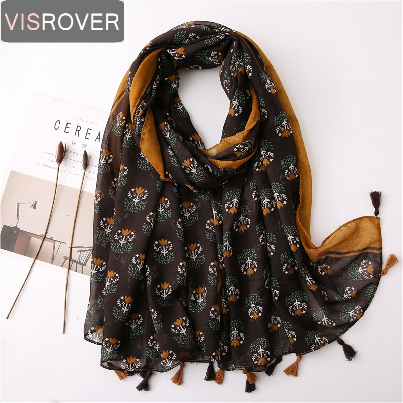 Visrover Yellow Flower Print Beach Scarf Luxury Brand Viscose Big Scarf Hijab Geometric Shawl Women Scarfs Fashion Spring Wrap