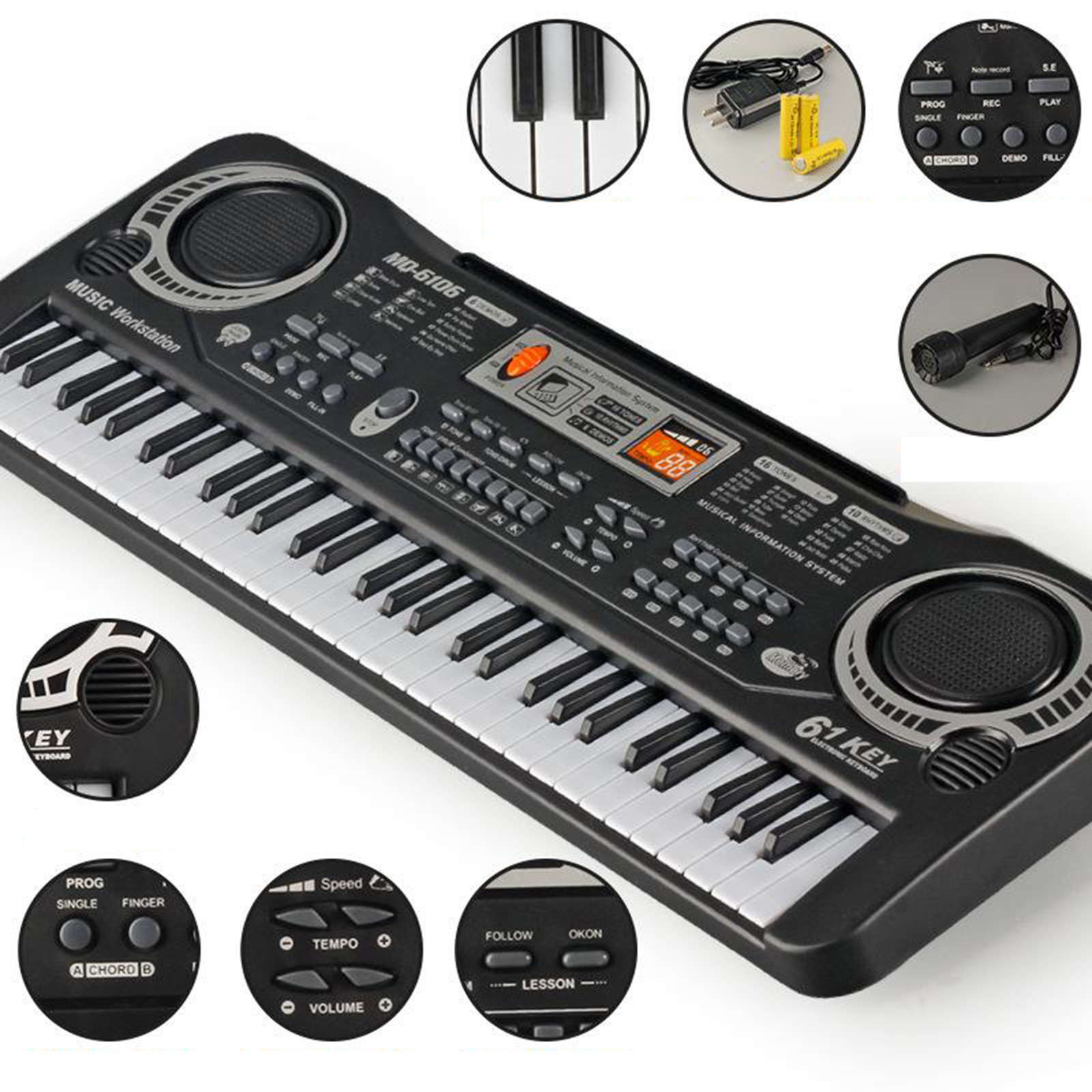 61Keys Beginners Portable Electronic Keyboard Microphone Piano for Beginners