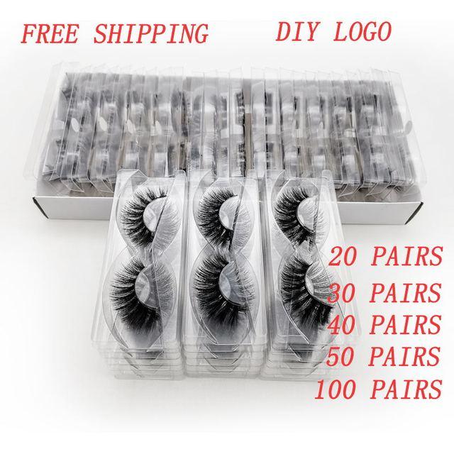 SHIDISHANGPIN 20/40/50/100 Pairs DIY logo kirpik kutu ambalaj dramatik sahte kirpik Faux vizon kirpiklere kabarık MakeupLashes