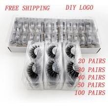 Shidishangpin 20/40/50/100 Đôi DIY Logo Lông Mi Đóng Gói Hộp Kịch Tính Giả Lông Mi Giả Chồn Hàng Mi Fulffy Makeuplashes