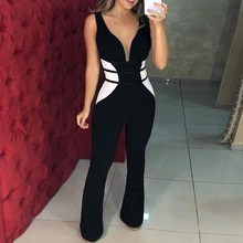 2019 Women Sexy V-neck Contrast Color Jumpsuits Bodycon Office Lady Flare Pants Party Club Overalls
