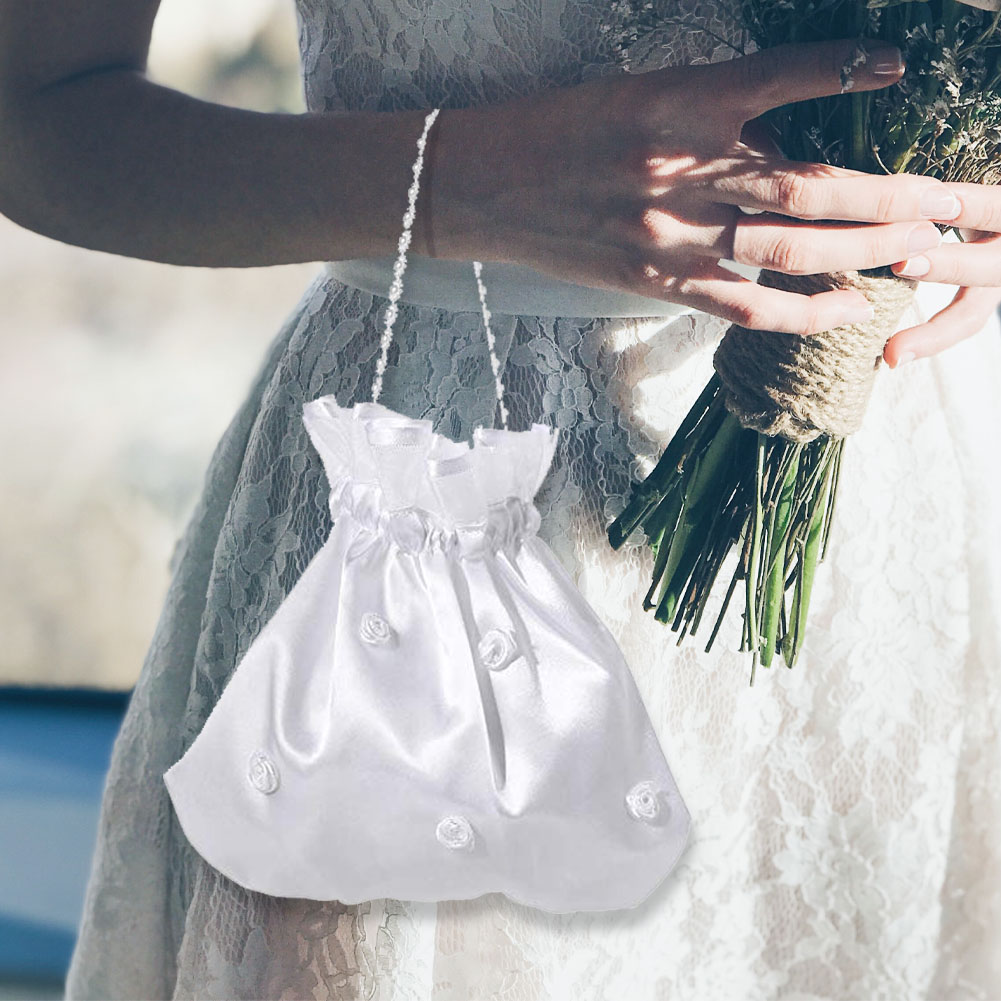 Mesh Accessories Lace Edge Candy Evening Party Drawstring Handbag Soft Bridesmaid Rhinestone Bridal Flower Decorated Lightweight