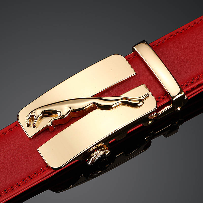 Brand Designer Belts Men High Quality Male Brand genuine Red Leather Belts for Men Automatic Buckle Strap free shipping