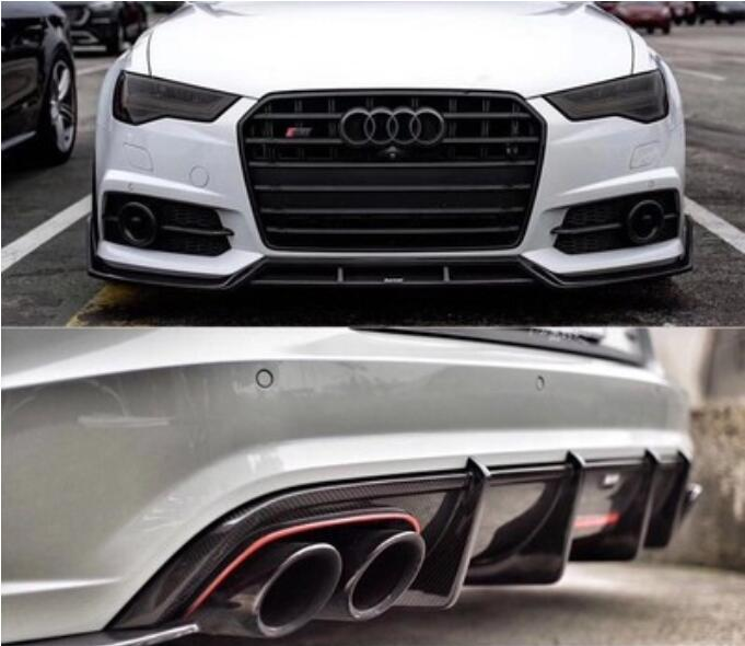 Kabul Real Carbon Fiber Front Rear Bumper Lip Diffuser With Side Skirt For <font><b>Audi</b></font> <font><b>A6</b></font> S6 RS6 <font><b>Avant</b></font> Allroad <font><b>2016</b></font> 2017 2018 2019 image