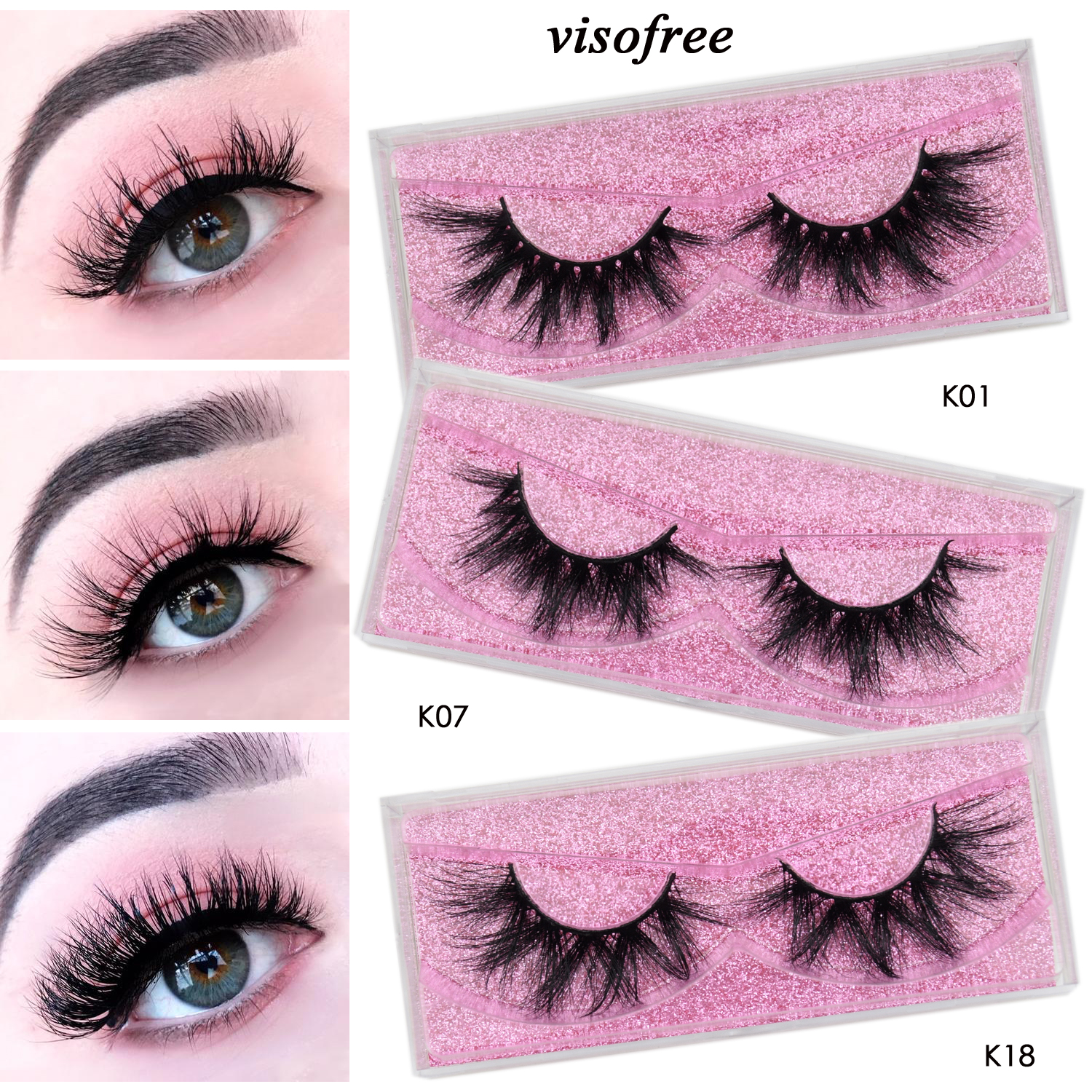 Visofree Eyelashes 3D Mink Lashes Faux Cils Dramatic Mink Eyelashes Makeup Lashes Full High Volume Mink Lashes Reusable Lashes