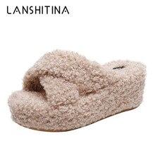 2019 Fashion Winter Plush Slippers Women 7CM High Heels Outdoor Warm Fur Antiskid Bottom Autumn Platform Flock Sneakers