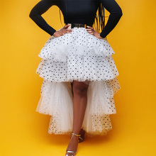 Women Skirt Plus Size Mesh Stitching Skirt Polka-d