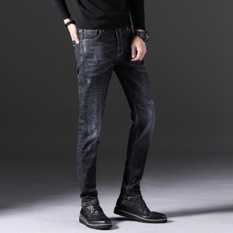 2018 Autumn And Winter New Style Blue Jeans Men's Slim Fit Elasticity Skinny Pants Korean-style Trend Youth Men Long Pants