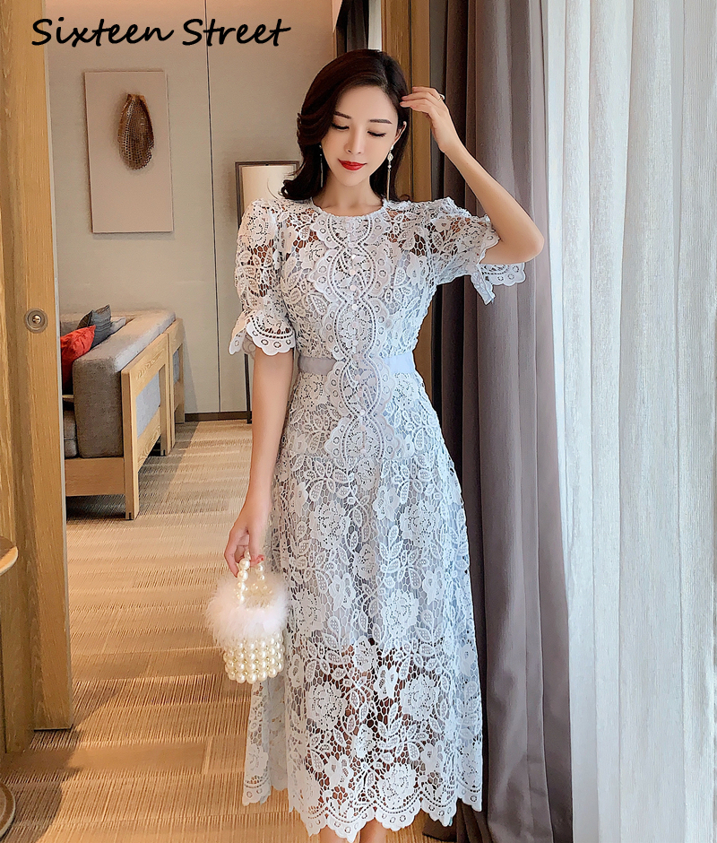 Blue Lace Dress Woman 2020 Summer Puff Sleeve Hollow Out Vestido Runway Design Mid-calf Dresses Female Short Sleeve Party