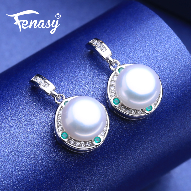 FENASY 925 Sterling Silver Natural Freshwater Pearl Drop Earrings Engagement jewelry Green Crystal Boho Long Earrings For Women