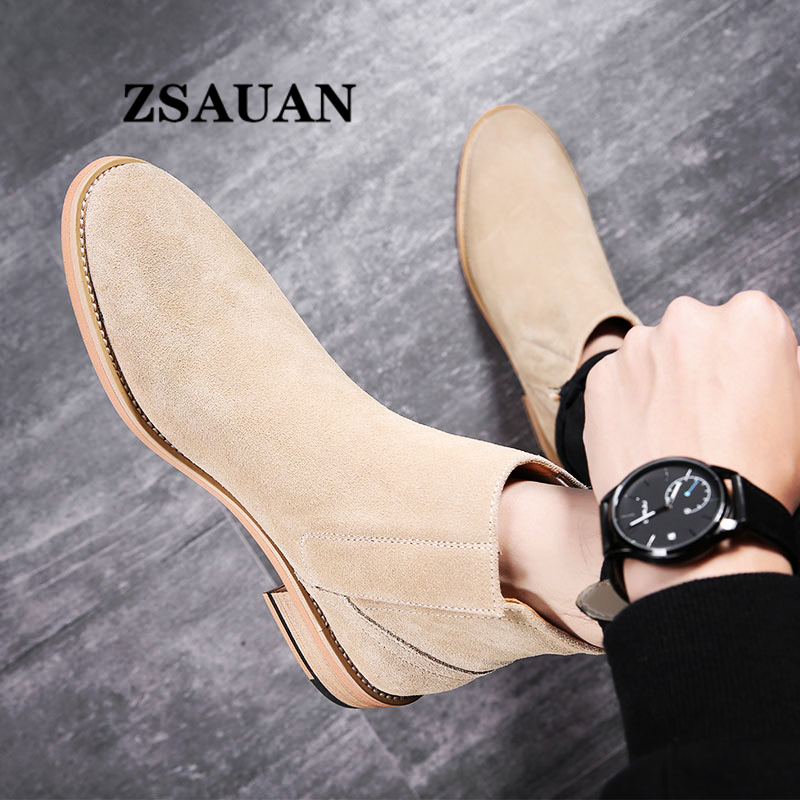 ZSAUAN New British Elegant Mens Chelsea Boots Pure Suede Leather Pointy Top Quality Men Boots Vintage Wood Sole Fall Men Shoes