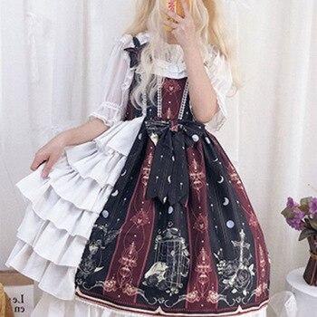 Vestido de Lolita de la princesa dulce del palacio gótico Vintage vestido victoriano estampado de Falbala Kawaii sin mangas chica gótica Lolita Jsk Loli