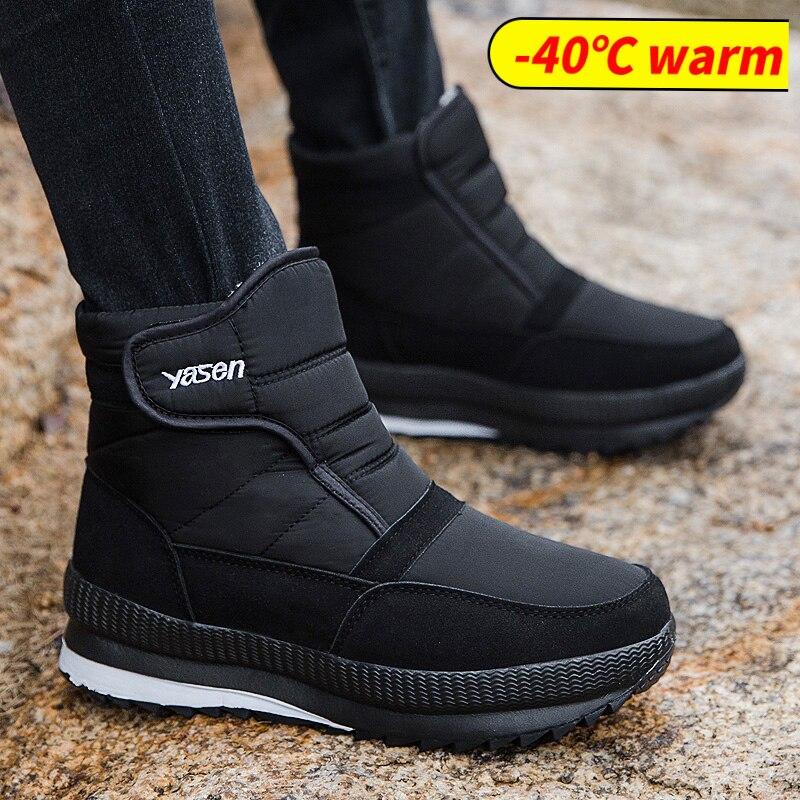 Winter Boots Men Warm Men's Winter Shoes Winter Shoes For Men Fur Warm Waterproof Ankle Snow Boots Outdoor Plush Shoes Men