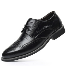 SZSGCN428 2019 New Men Oxford Genuine Leather Dress Shoes Brogue Lace Up Flats Male Casual Shoes Black Brown Size 38 48